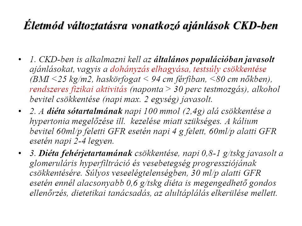 Életmód változtatásra vonatkozó ajánlások CKD-ben 1. CKD-ben is alkalmazni kell az általános populációban javasolt ajánlásokat, vagyis a dohányzás elh