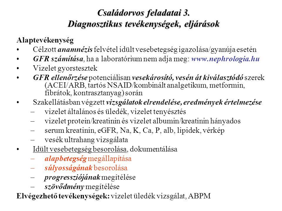 Családorvos feladatai 3. Diagnosztikus tevékenységek, eljárások Alaptevékenység Célzott anamnézis felvétel idült vesebetegség igazolása/gyanúja esetén