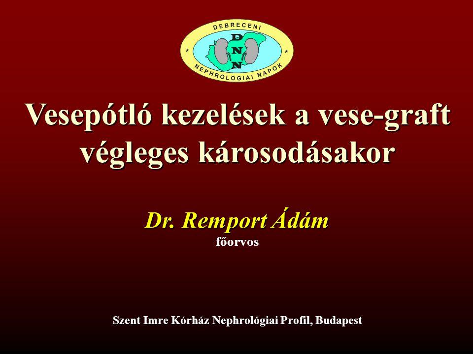 Vesepótló kezelések a vese-graft végleges károsodásakor Szent Imre Kórház Nephrológiai Profil, Budapest Dr. Remport Ádám főorvos