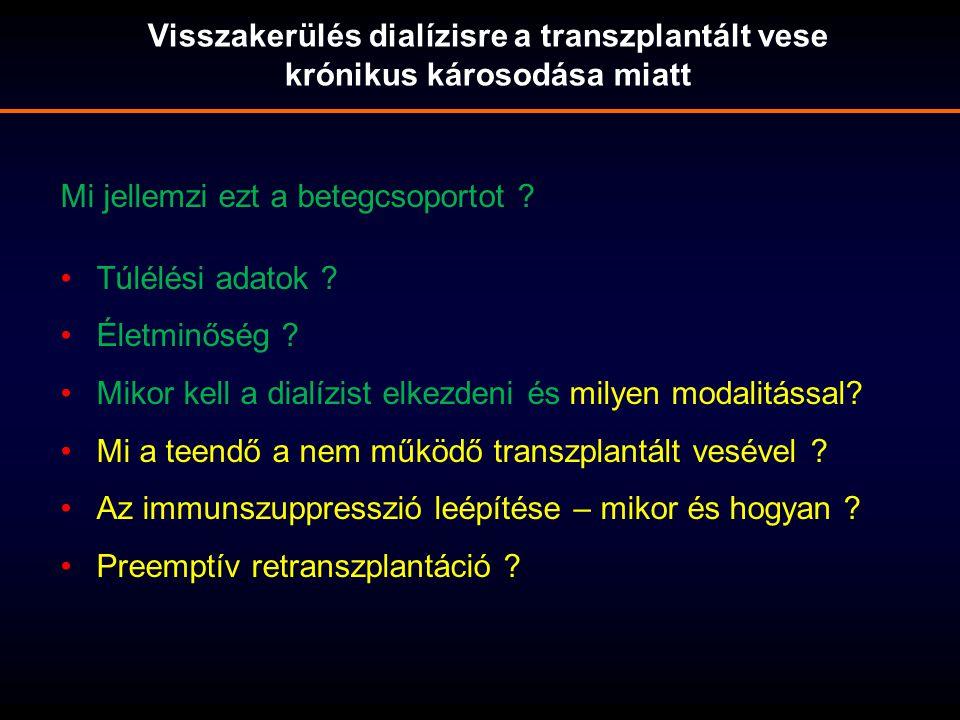 Visszakerülés dialízisre a transzplantált vese krónikus károsodása miatt Mi jellemzi ezt a betegcsoportot ? Túlélési adatok ? Életminőség ? Mikor kell