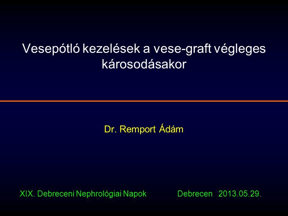 Vesepótló kezelések a vese-graft végleges károsodásakor Dr. Remport Ádám XIX. Debreceni Nephrológiai Napok Debrecen 2013.05.29.