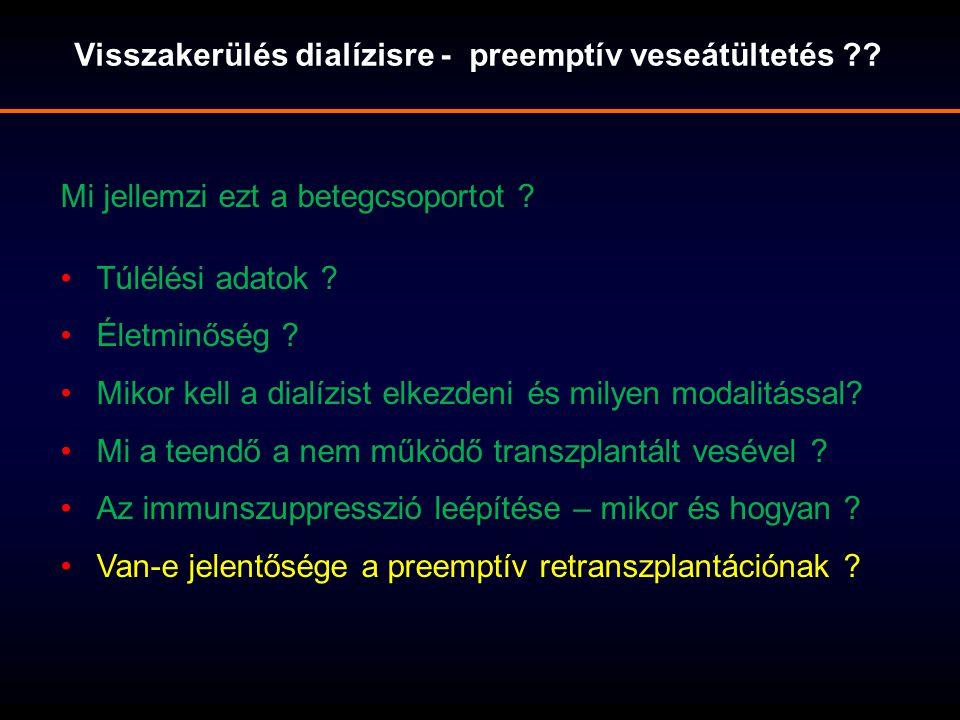 Visszakerülés dialízisre - preemptív veseátültetés ?.