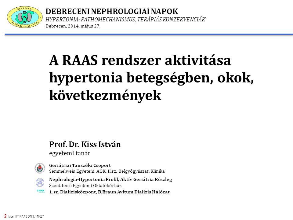 13 kissi HT RAAS DNN_140527 Lehetséges kapcsolat az endothel rendszer és RAS között hypertonia betegségben