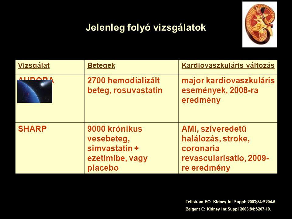 Jelenleg folyó vizsgálatok VizsgálatBetegekKardiovaszkuláris változás AURORA2700 hemodializált beteg, rosuvastatin major kardiovaszkuláris események, 2008-ra eredmény SHARP9000 krónikus vesebeteg, simvastatin + ezetimibe, vagy placebo AMI, szíveredetű halálozás, stroke, coronaria revascularisatio, 2009- re eredmény Fellstrom BC: Kidney Int Suppl: 2003;84:S204-6.