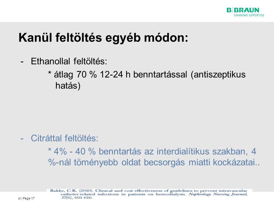 sl | Page17 Kanül feltöltés egyéb módon: -Ethanollal feltöltés: * átlag 70 % 12-24 h benntartással (antiszeptikus hatás) -Citráttal feltöltés: * 4% - 40 % benntartás az interdialítikus szakban, 4 %-nál töményebb oldat becsorgás miatti kockázatai..