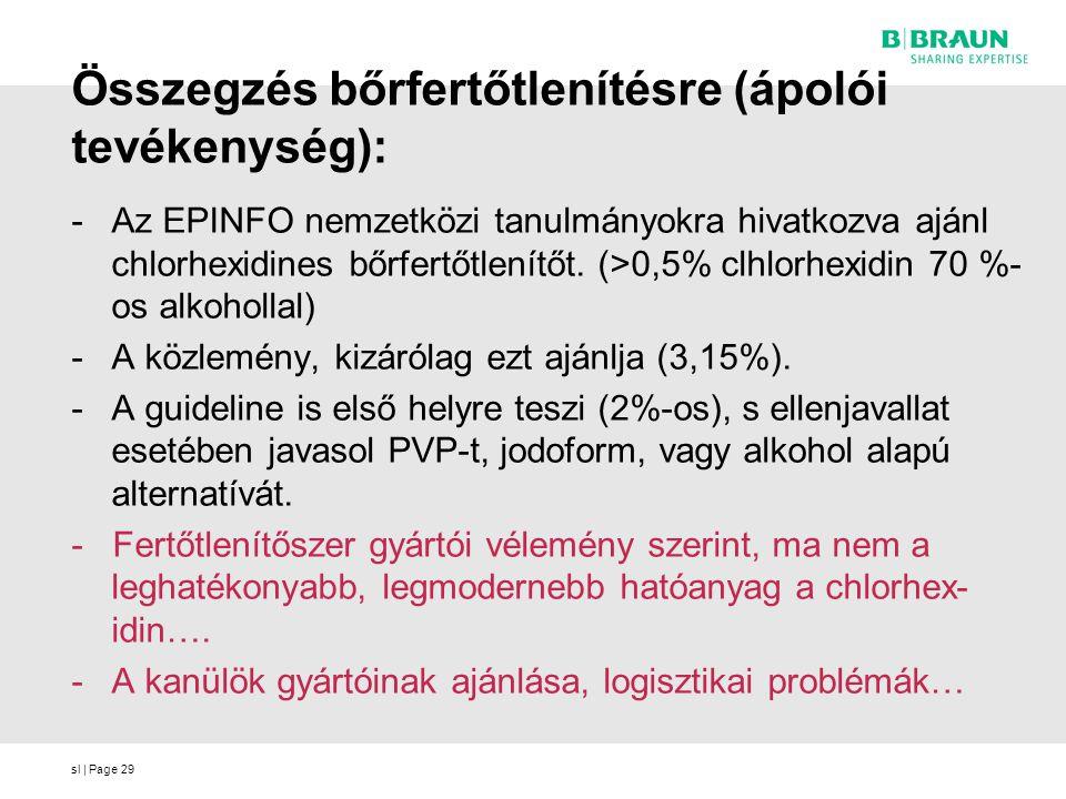 sl | Page29 Összegzés bőrfertőtlenítésre (ápolói tevékenység): -Az EPINFO nemzetközi tanulmányokra hivatkozva ajánl chlorhexidines bőrfertőtlenítőt.