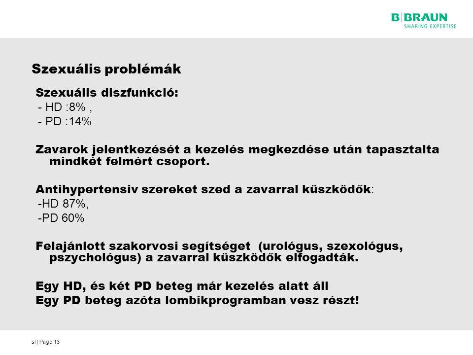 sl | Page13 Szexuális problémák Szexuális diszfunkció: - HD :8%, - PD :14% Zavarok jelentkezését a kezelés megkezdése után tapasztalta mindkét felmért