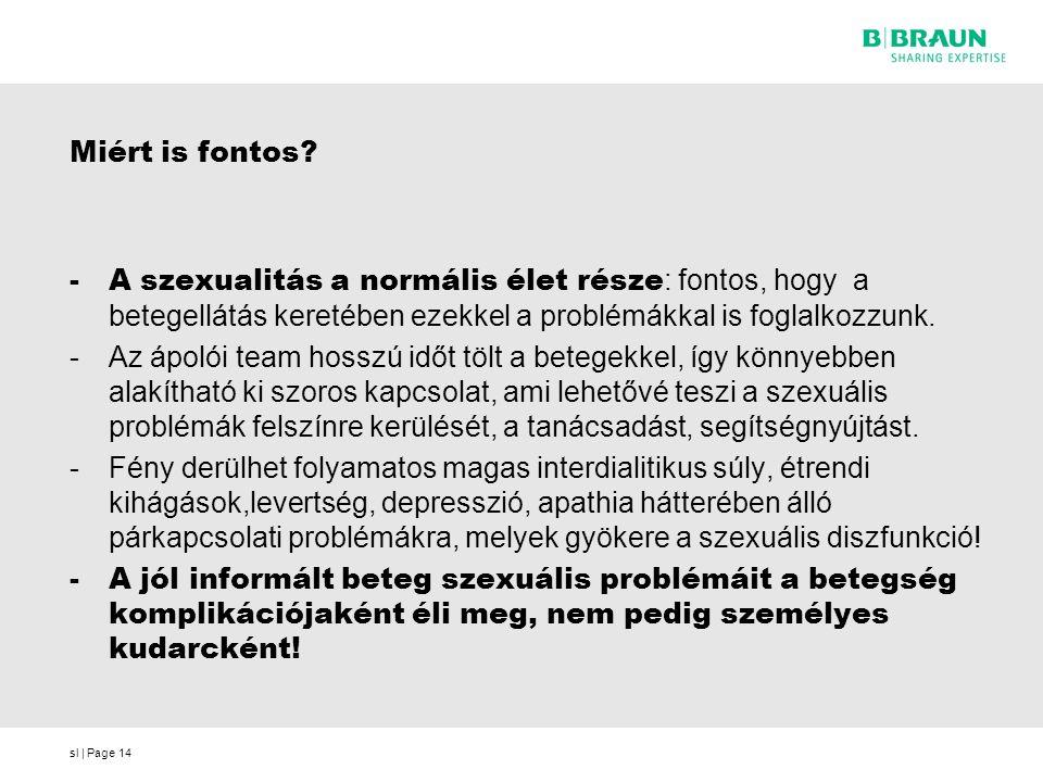 sl | Page14 Miért is fontos? -A szexualitás a normális élet része : fontos, hogy a betegellátás keretében ezekkel a problémákkal is foglalkozzunk. -Az