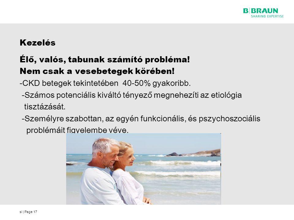 sl | Page17 Kezelés Élő, valós, tabunak számító probléma! Nem csak a vesebetegek körében! -CKD betegek tekintetében 40-50% gyakoribb. -Számos potenciá