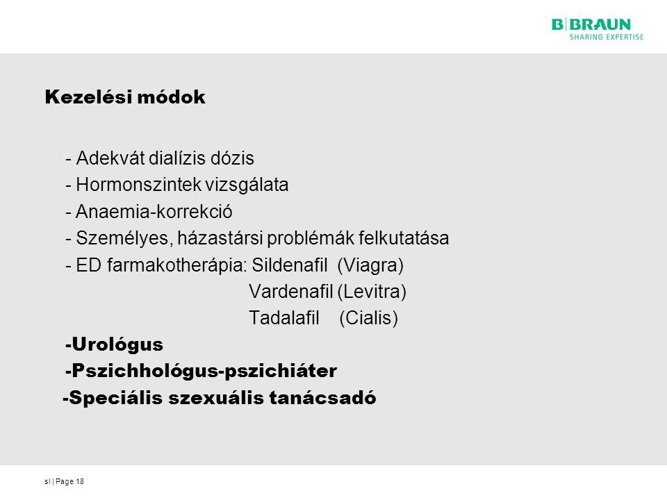 sl | Page18 Kezelési módok - Adekvát dialízis dózis - Hormonszintek vizsgálata - Anaemia-korrekció - Személyes, házastársi problémák felkutatása - ED