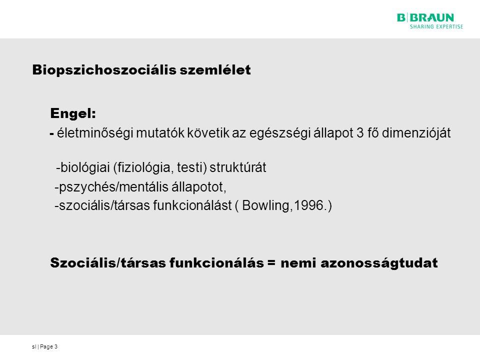 sl | Page3 Biopszichoszociális szemlélet Engel: - életminőségi mutatók követik az egészségi állapot 3 fő dimenzióját -biológiai (fiziológia, testi) st