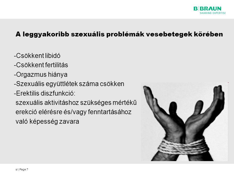 sl | Page7 A leggyakoribb szexuális problémák vesebetegek körében -Csökkent libidó -Csökkent fertilitás -Orgazmus hiánya -Szexuális együttlétek száma