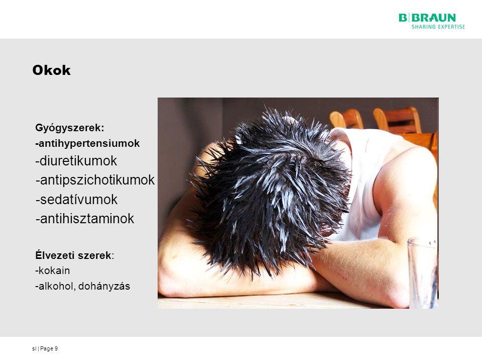 sl | Page9 Okok Gyógyszerek: -antihypertensiumok -diuretikumok -antipszichotikumok -sedatívumok -antihisztaminok Élvezeti szerek: -kokain -alkohol, do