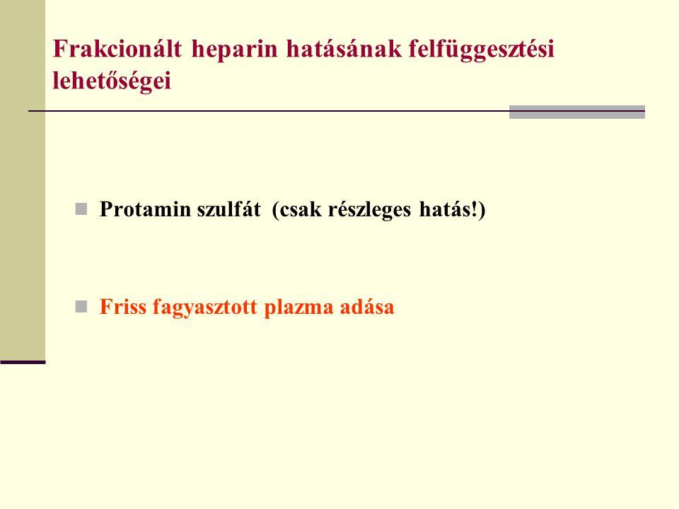 Frakcionált heparin hatásának felfüggesztési lehetőségei Protamin szulfát (csak részleges hatás!) Friss fagyasztott plazma adása