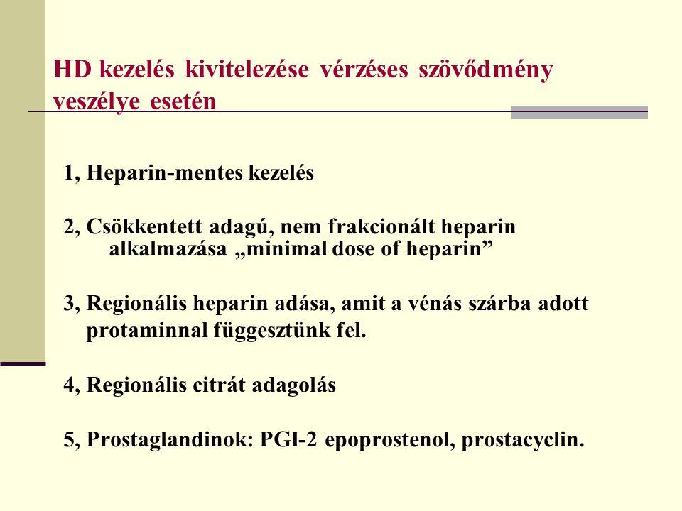 """HD kezelés kivitelezése vérzéses szövődmény veszélye esetén 1, Heparin-mentes kezelés 2, Csökkentett adagú, nem frakcionált heparin alkalmazása """"minim"""