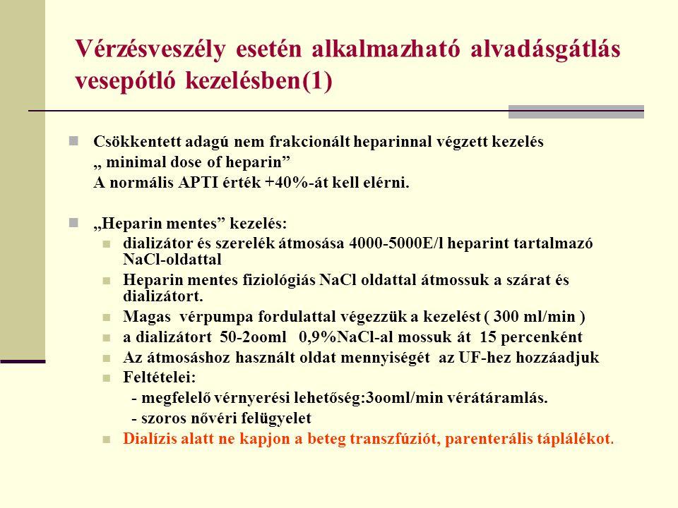"""Vérzésveszély esetén alkalmazható alvadásgátlás vesepótló kezelésben(1) Csökkentett adagú nem frakcionált heparinnal végzett kezelés """" minimal dose of"""