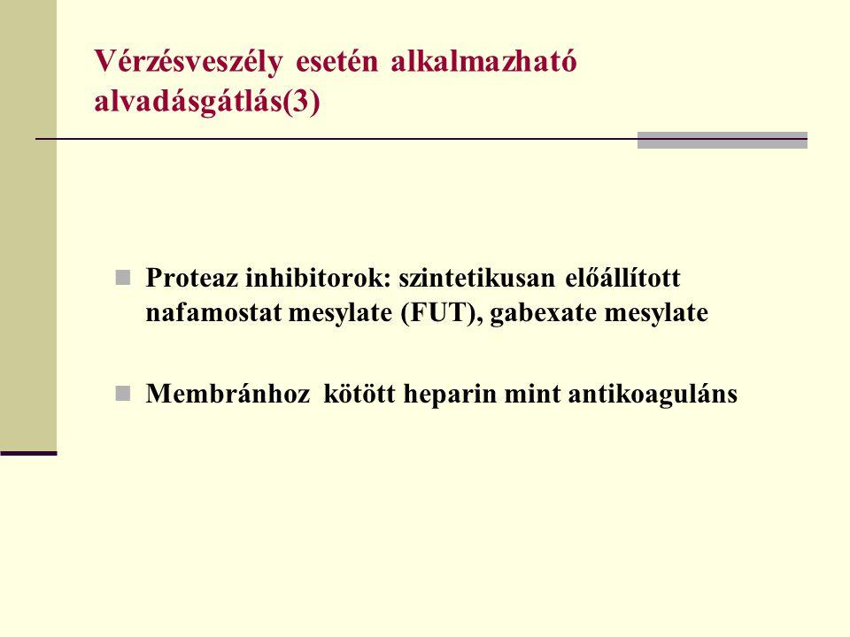Vérzésveszély esetén alkalmazható alvadásgátlás(3) Proteaz inhibitorok: szintetikusan előállított nafamostat mesylate (FUT), gabexate mesylate Membrán
