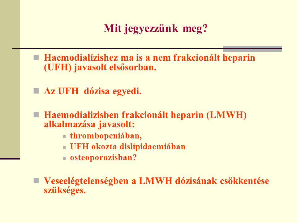 Mit jegyezzünk meg? Haemodialízishez ma is a nem frakcionált heparin (UFH) javasolt elsősorban. Az UFH dózisa egyedi. Haemodializisben frakcionált hep