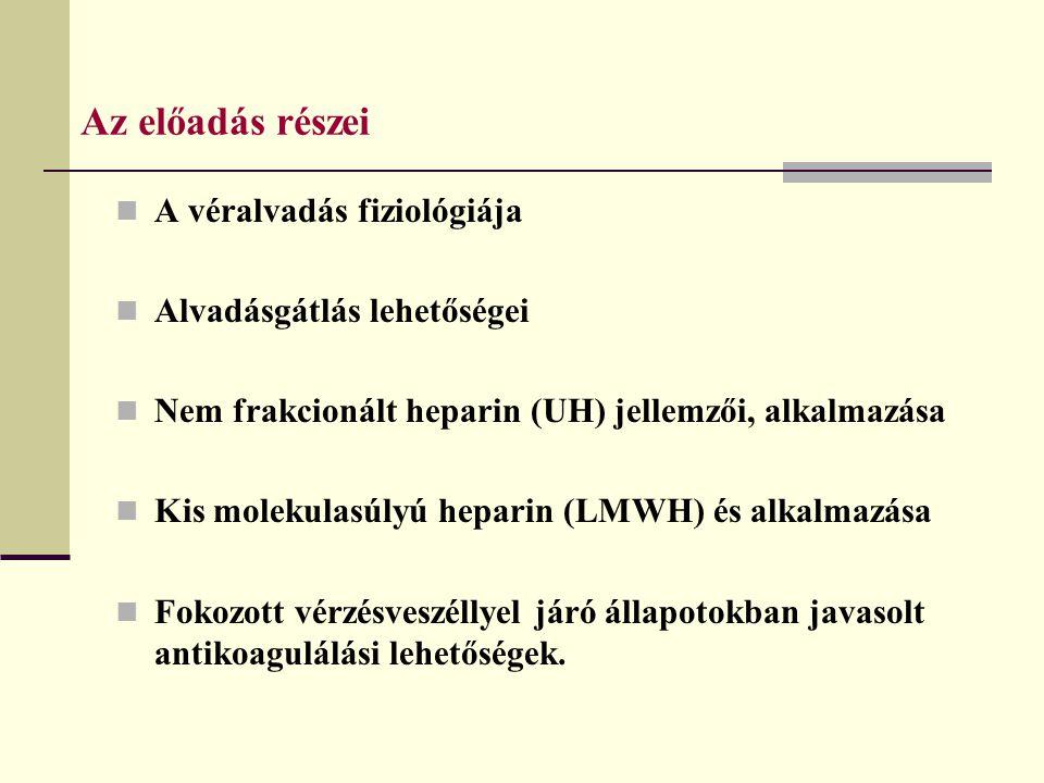 Az előadás részei A véralvadás fiziológiája Alvadásgátlás lehetőségei Nem frakcionált heparin (UH) jellemzői, alkalmazása Kis molekulasúlyú heparin (L