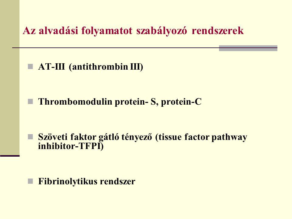 Az alvadási folyamatot szabályozó rendszerek AT-III (antithrombin III) Thrombomodulin protein- S, protein-C Szöveti faktor gátló tényező (tissue facto