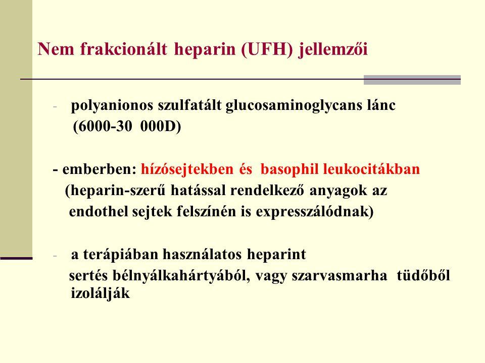 Nem frakcionált heparin (UFH) jellemzői - polyanionos szulfatált glucosaminoglycans lánc (6000-30 000D) - emberben: hízósejtekben és basophil leukocit