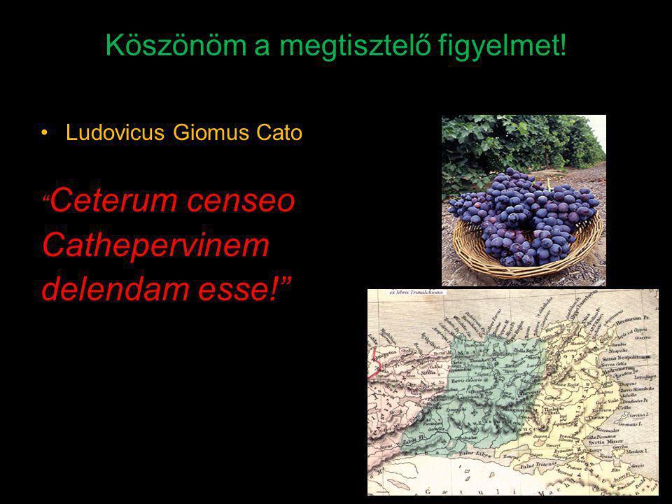 "Köszönöm a megtisztelő figyelmet! Ludovicus Giomus Cato "" Ceterum censeo Cathepervinem delendam esse!"""