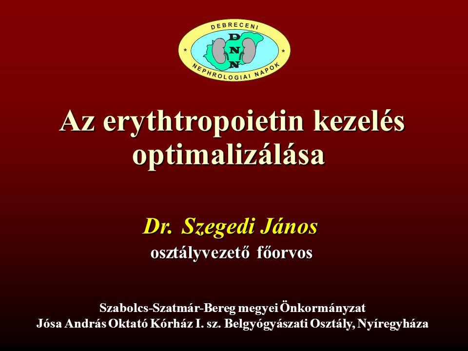 Az erythtropoietin kezelés optimalizálása Dr. Szegedi János osztályvezető főorvos Szabolcs-Szatmár-Bereg megyei Önkormányzat Jósa András Oktató Kórház