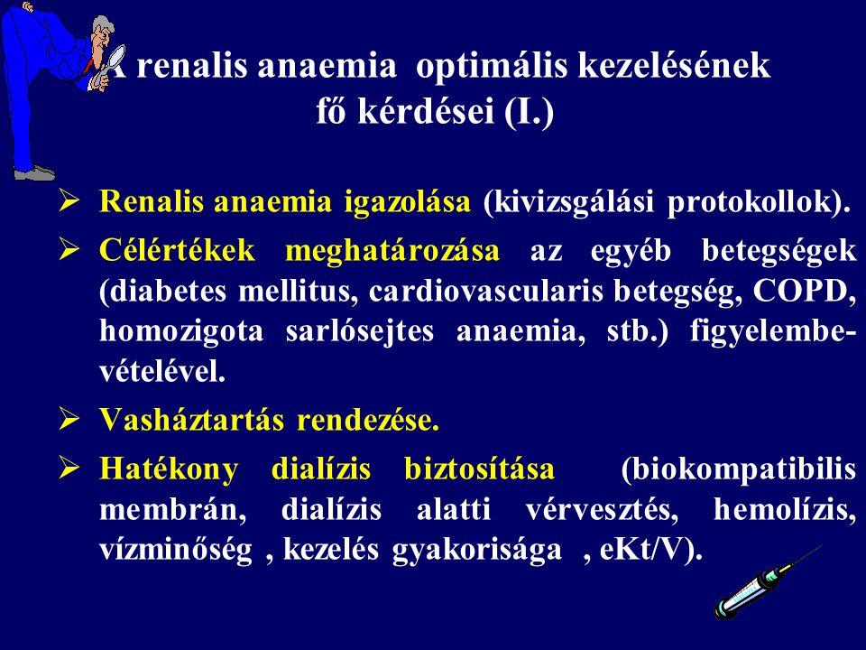  Renalis anaemia igazolása (kivizsgálási protokollok).  Célértékek meghatározása az egyéb betegségek (diabetes mellitus, cardiovascularis betegség,