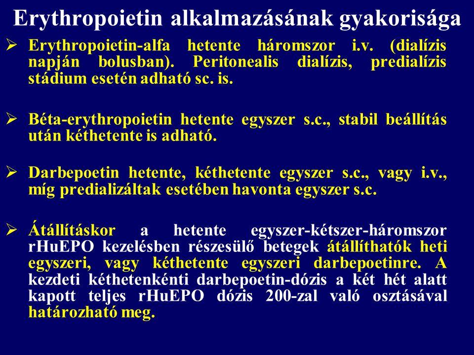 Erythropoietin alkalmazásának gyakorisága  Erythropoietin-alfa hetente háromszor i.v. (dialízis napján bolusban). Peritonealis dialízis, predialízis