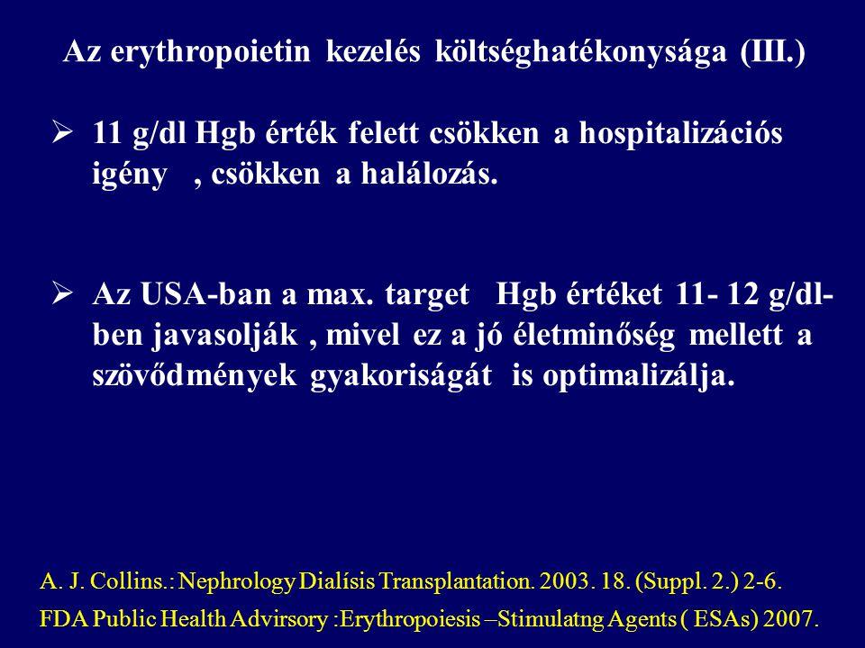  11 g/dl Hgb érték felett csökken a hospitalizációs igény, csökken a halálozás.  Az USA-ban a max. target Hgb értéket 11- 12 g/dl- ben javasolják, m