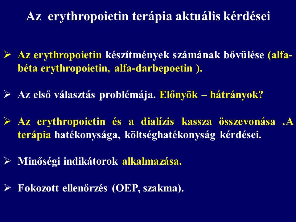 Az erythropoietin terápia aktuális kérdései  Az erythropoietin készítmények számának bővülése (alfa- béta erythropoietin, alfa-darbepoetin ).  Az el