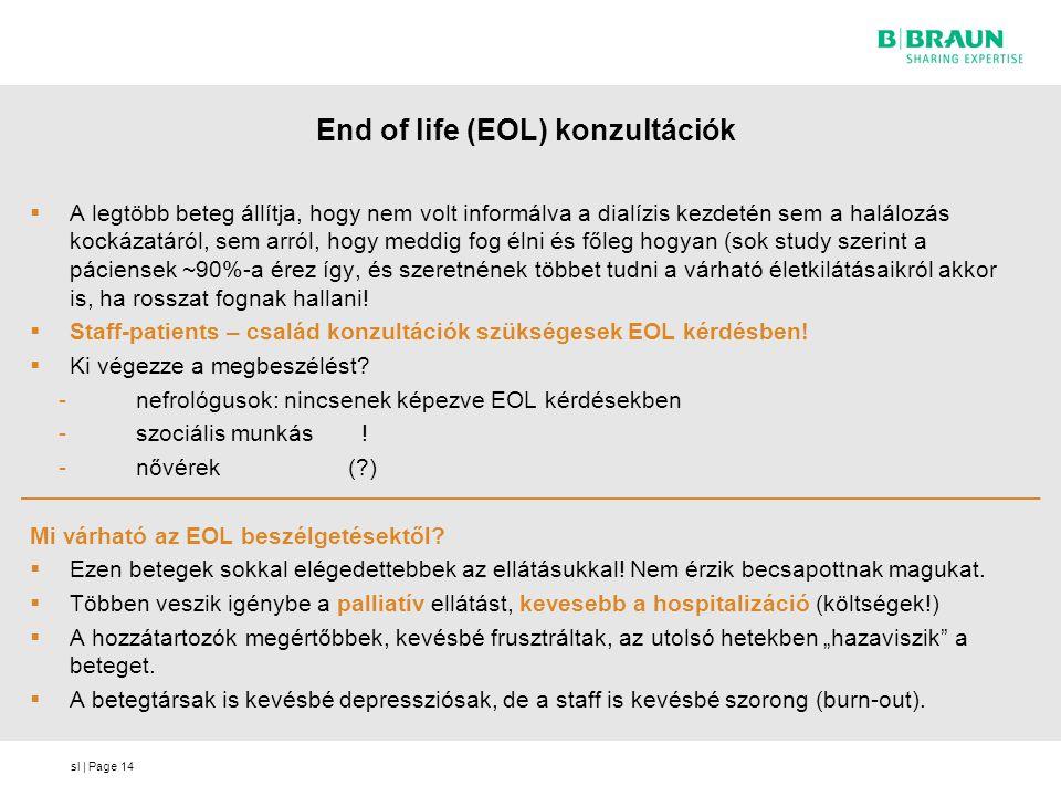 sl | Page End of life (EOL) konzultációk  A legtöbb beteg állítja, hogy nem volt informálva a dialízis kezdetén sem a halálozás kockázatáról, sem arr