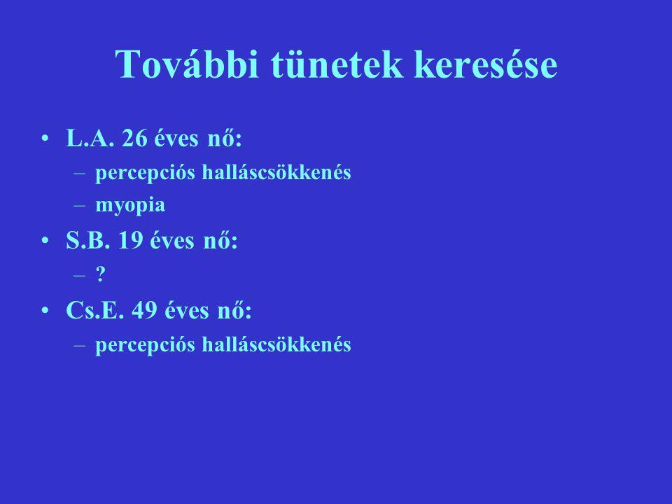 További tünetek keresése L.A.26 éves nő: –percepciós halláscsökkenés –myopia S.B.