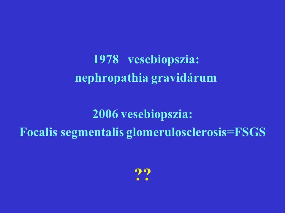 1978 vesebiopszia: nephropathia gravidárum 2006 vesebiopszia: Focalis segmentalis glomerulosclerosis=FSGS ??
