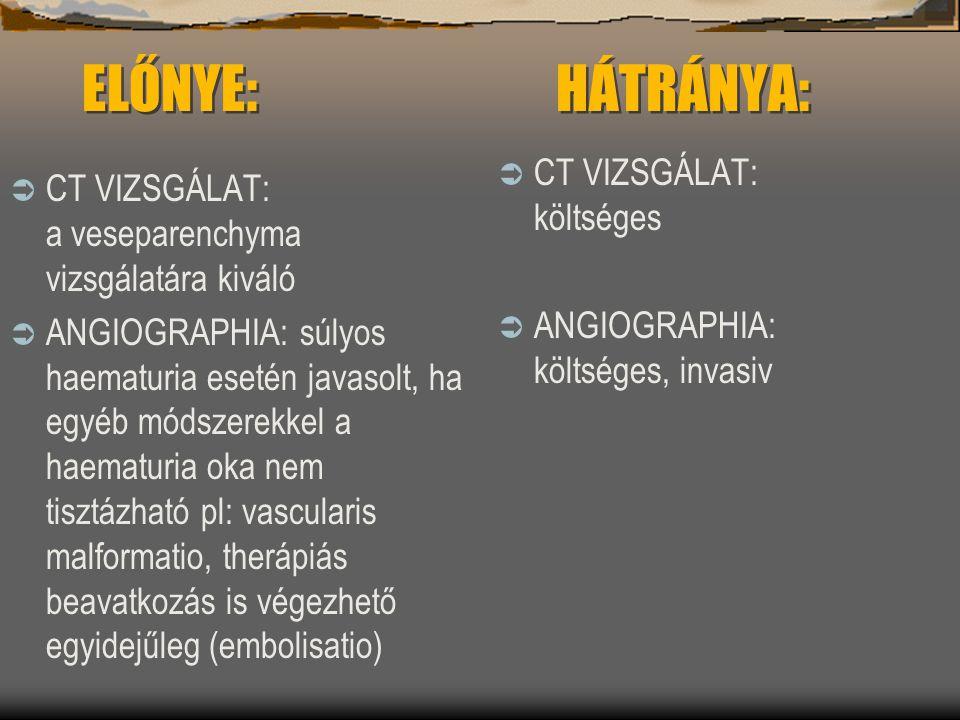 ELŐNYE: HÁTRÁNYA:  CT VIZSGÁLAT: a veseparenchyma vizsgálatára kiváló  ANGIOGRAPHIA: súlyos haematuria esetén javasolt, ha egyéb módszerekkel a haem