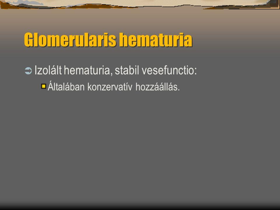 Glomerularis hematuria  Izolált hematuria, stabil vesefunctio: Általában konzervatív hozzáállás.