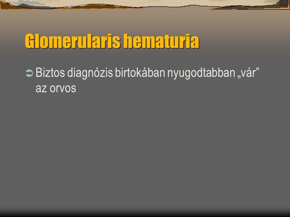 """Glomerularis hematuria  Biztos diagnózis birtokában nyugodtabban """"vár"""" az orvos"""