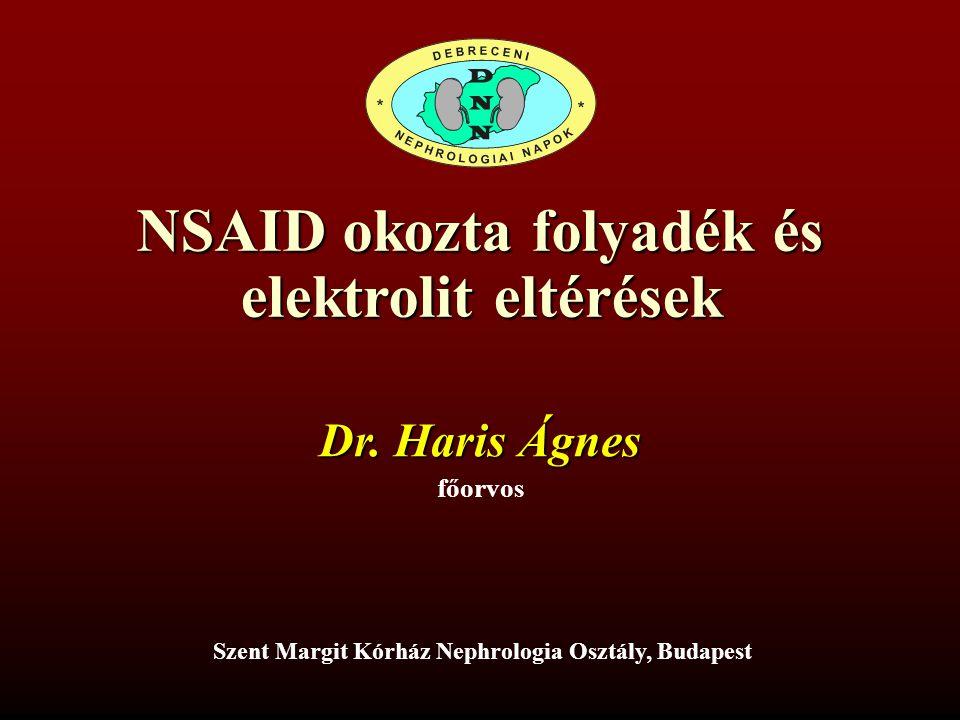 NSAID okozta folyadék és elektrolit eltérések Dr. Haris Ágnes főorvos Szent Margit Kórház Nephrologia Osztály, Budapest