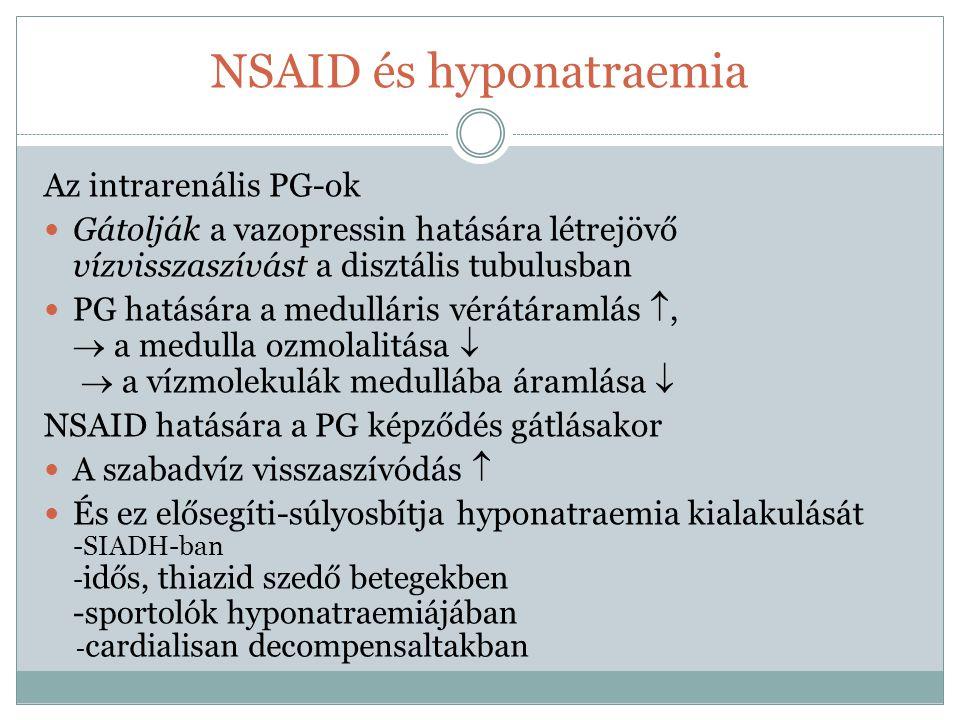 NSAID és hyponatraemia Az intrarenális PG-ok Gátolják a vazopressin hatására létrejövő vízvisszaszívást a disztális tubulusban PG hatására a medullári
