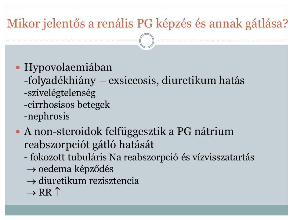Mikor jelentős a renális PG képzés és annak gátlása? Hypovolaemiában -fol y adékhiány – exsiccosis, diuretikum hatás -szívelégtelenség -cirrhosisos be