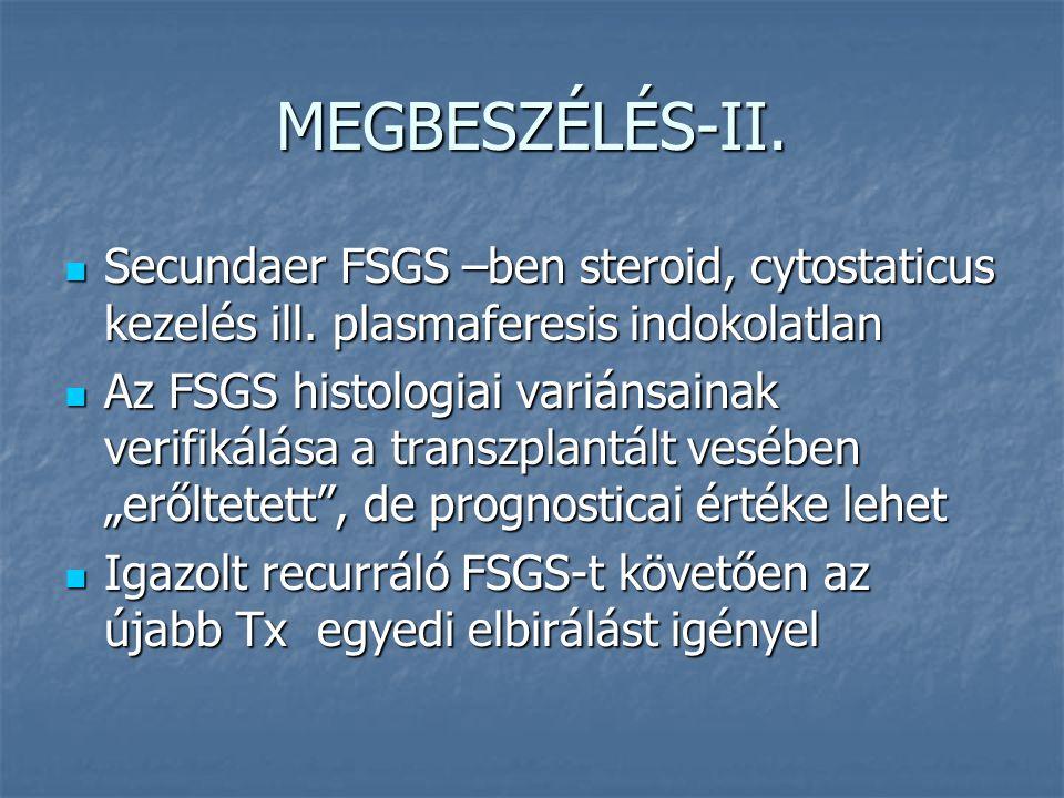 MEGBESZÉLÉS-II. Secundaer FSGS –ben steroid, cytostaticus kezelés ill. plasmaferesis indokolatlan Secundaer FSGS –ben steroid, cytostaticus kezelés il