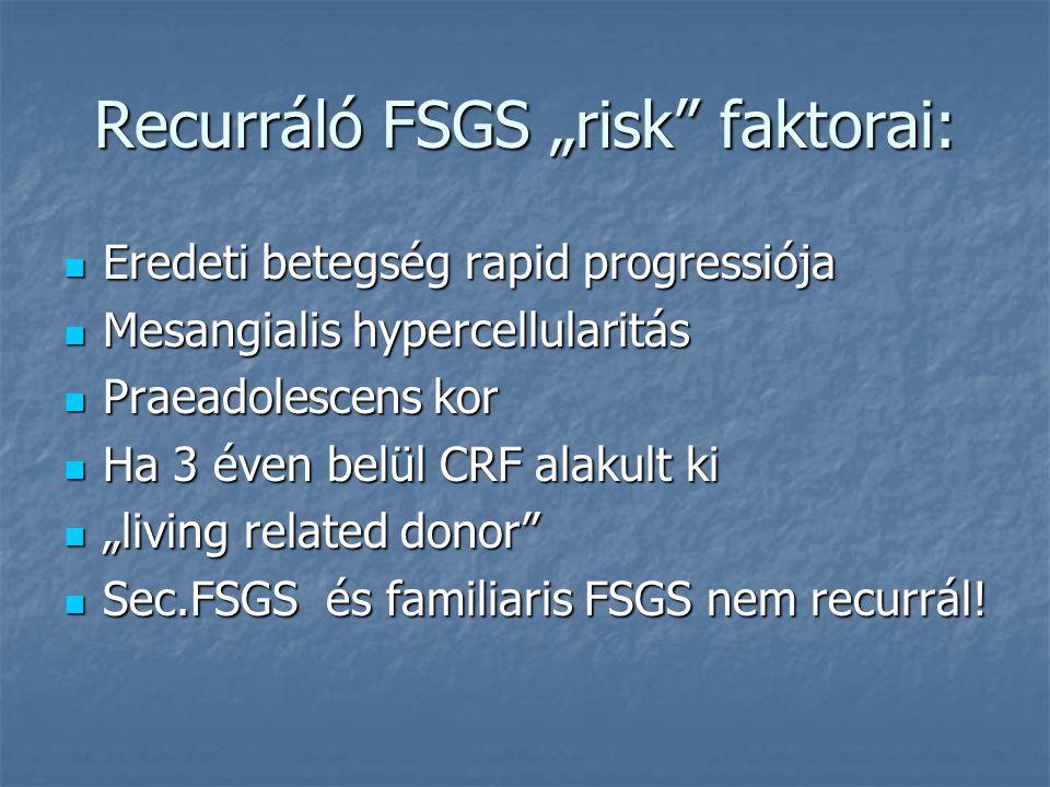 """Recurráló FSGS """"risk"""" faktorai: Eredeti betegség rapid progressiója Eredeti betegség rapid progressiója Mesangialis hypercellularitás Mesangialis hype"""