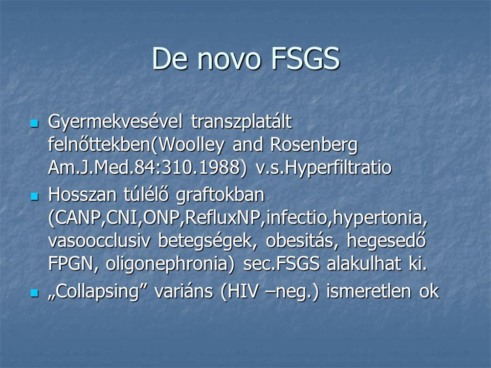 De novo FSGS Gyermekvesével transzplatált felnőttekben(Woolley and Rosenberg Am.J.Med.84:310.1988) v.s.Hyperfiltratio Gyermekvesével transzplatált fel