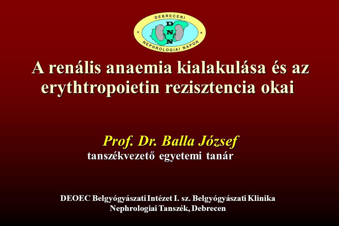 A renális anaemia kialakulása és az erythtropoietin rezisztencia okai Prof. Dr. Balla József tanszékvezető egyetemi tanár DEOEC Belgyógyászati Intézet