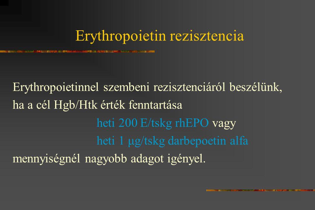 Erythropoietin rezisztencia Erythropoietinnel szembeni rezisztenciáról beszélünk, ha a cél Hgb/Htk érték fenntartása heti 200 E/tskg rhEPO vagy heti 1 μg/tskg darbepoetin alfa mennyiségnél nagyobb adagot igényel.