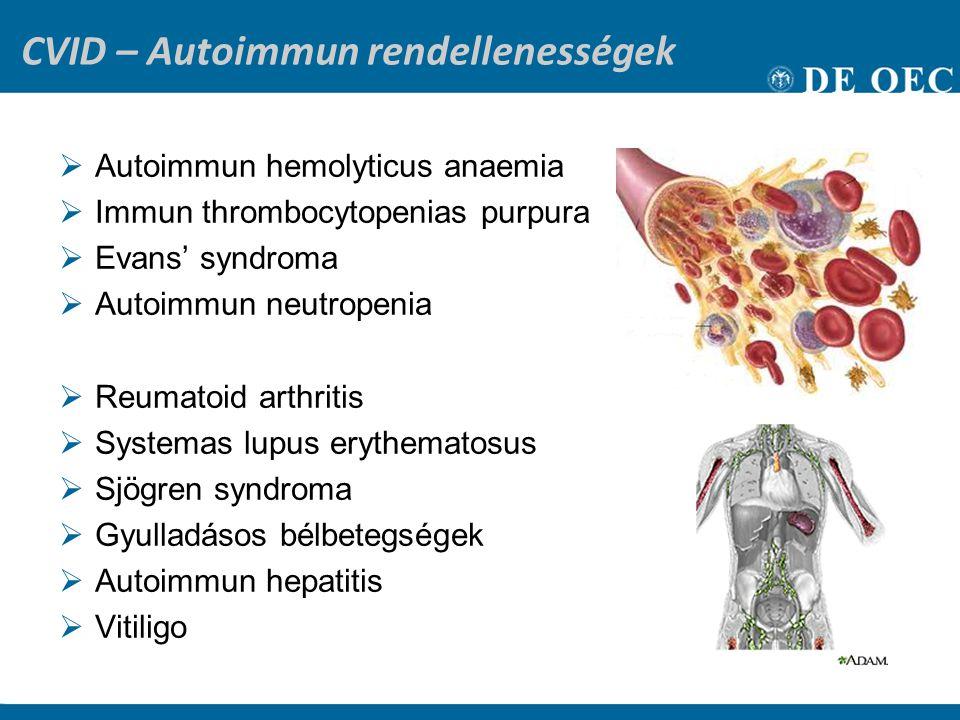 CVID – Autoimmun rendellenességek  Autoimmun hemolyticus anaemia  Immun thrombocytopenias purpura  Evans' syndroma  Autoimmun neutropenia  Reumatoid arthritis  Systemas lupus erythematosus  Sjögren syndroma  Gyulladásos bélbetegségek  Autoimmun hepatitis  Vitiligo