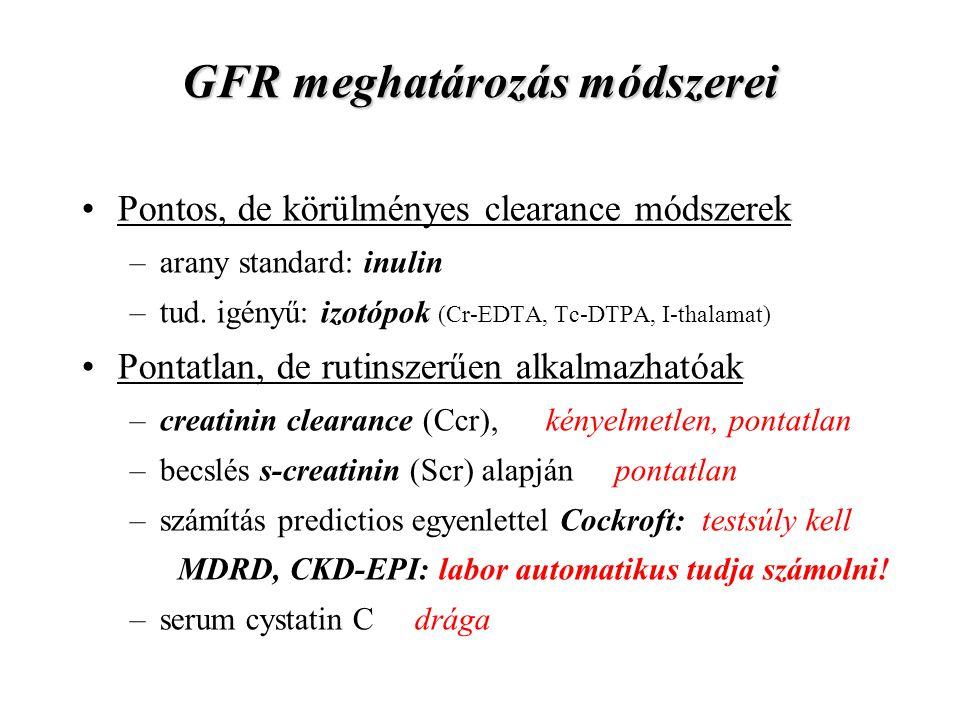 GFR meghatározás módszerei Pontos, de körülményes clearance módszerek –arany standard: inulin –tud. igényű: izotópok (Cr-EDTA, Tc-DTPA, I-thalamat) Po