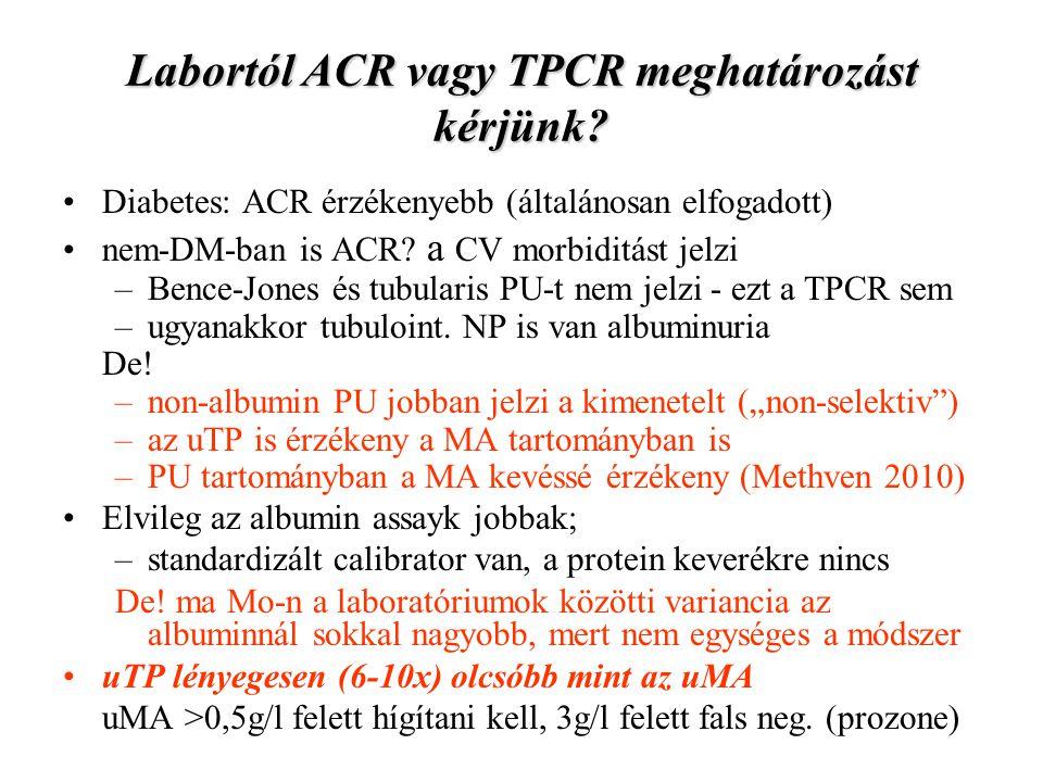 Labortól ACR vagy TPCR meghatározást kérjünk? Diabetes: ACR érzékenyebb (általánosan elfogadott) nem-DM-ban is ACR? a CV morbiditást jelzi –Bence-Jone