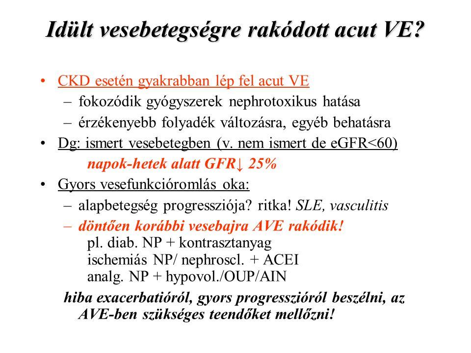 Idült vesebetegségre rakódott acut VE? CKD esetén gyakrabban lép fel acut VE –fokozódik gyógyszerek nephrotoxikus hatása –érzékenyebb folyadék változá
