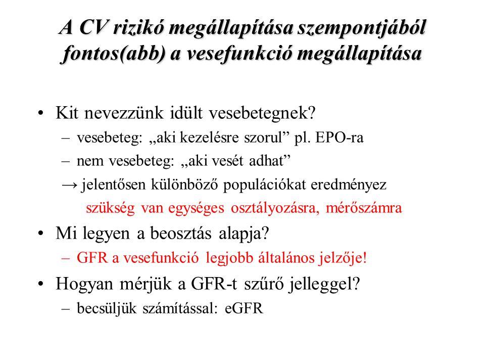 A krónikus vesebetegség (CKD) fogalmának megalkotása, osztályozása, KDOQI 2002 Stá- dium JellemzőkGFR (ml/perc /1,73m 2 ) Diagnózis feltétele 1.vesebetegség norm.